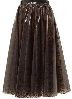MSGM Leopard Print Pvc Midi Skirt - Womens - Leopard
