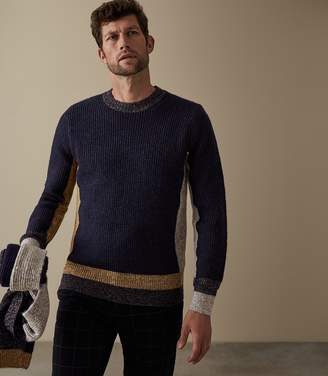 Reiss Our last order date for Christmas has now passed RAPTURE COLOUR BLOCK JUMPER Navy