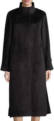 Cinzia Rocca Long Stand-Collar Alpaca-Blend Coat