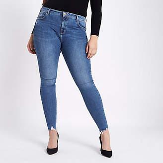 River Island Plus blue Amelie rip hem super skinny jeans