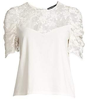 Generation Love Women's Gabriella Embroidered Puff Sleeve Illusion Top