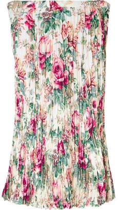 Junya Watanabe Floral-print Plissé-crepe Midi Skirt