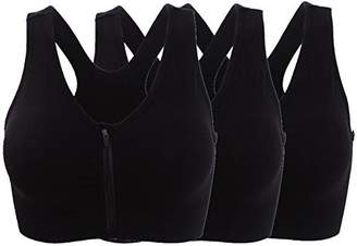ohlyah Women's Zipper Front Closure Sports Bra Racerback Yoga Bras 3 Pack M