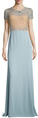 Jenny Packham Crystal-Bodice Short-Sleeve Gown, Illusion/Stormy Blue $4,325 thestylecure.com