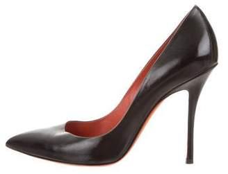 Santoni Leather Pointed-Toe Pumps