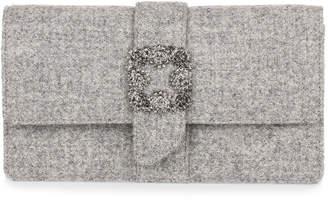 Manolo Blahnik Capri grey tweed embellished clutch