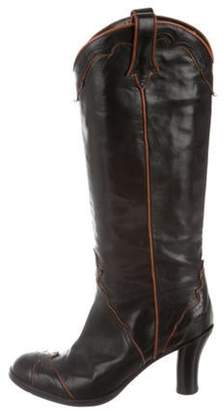 Sartore Leather Mid-Calf Boots Black Leather Mid-Calf Boots