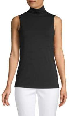 Saks Fifth Avenue BLACK Slouch Turtleneck Sleeveless Top
