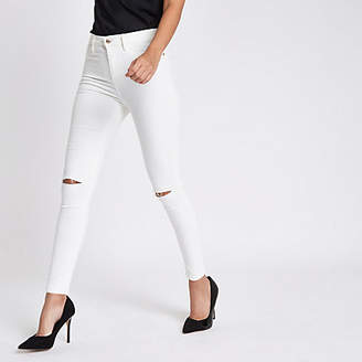 River Island Womens White Harper high rise super skinny jeans