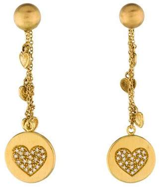 Carolina Bucci 18K Diamond Heart Drop Earrings