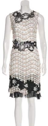Talbot Runhof Sequin-Accented Knee-Length Dress