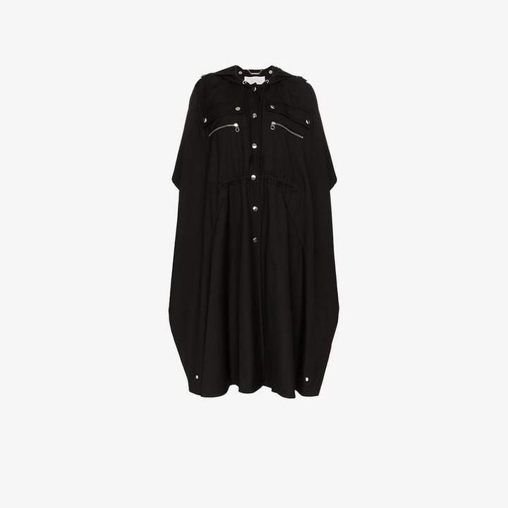 button detail hooded cape