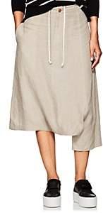 Yohji Yamamoto Regulation Women's Cutout Linen Crop Pants-Ivory