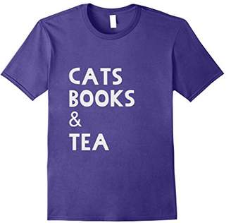 Cats Books and Tea Lovers T-Shirt Funny Text Saying Shirt