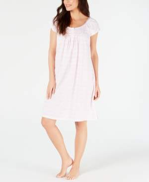 Miss Elaine Printed Silky Knit Short Nightgown