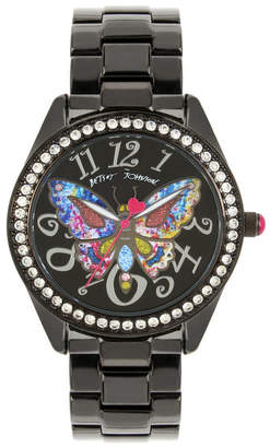 Betsey Johnson Multi-Colored Butterfly Motif Dial Black Watch