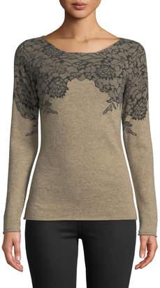 Neiman Marcus Lace-Print Cashmere Sweater