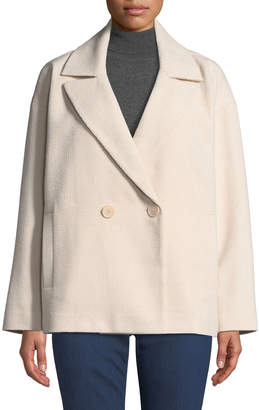 NYDJ Double-Breasted Tweed Pea Coat