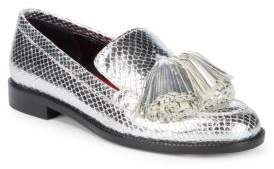 Tassled Metallic Leather Loafers