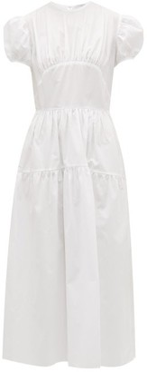 Cecilie Bahnsen - Tia Bow Back Tiered Cotton Poplin Dress - Womens - White
