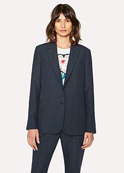 Paul Smith Women's Navy Linen Blazer With Stripe Back