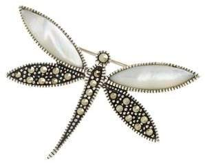 Lord & Taylor Sterling Silver And Marcasite Dragonfly Pin