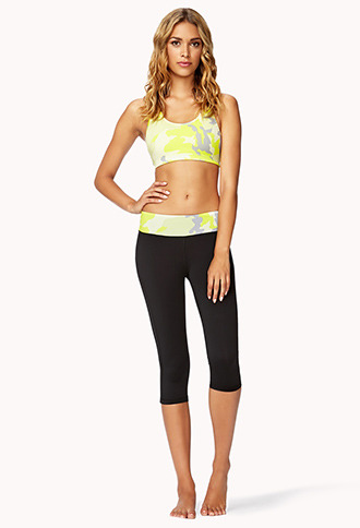 Forever 21 Neon Camo Skinny Workout Capris