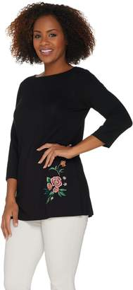 Joan Rivers Classics Collection Joan Rivers 3/4 Sleeve Knit Top with Embroidered Flowers
