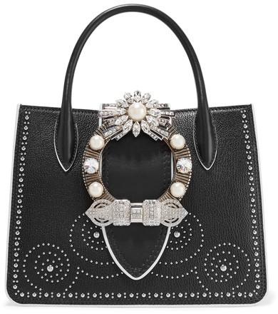 Miu MiuMiu Miu - Embellished Textured-leather Shoulder Bag - Black