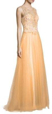 Sleeveless Embroidered A-Line Gown