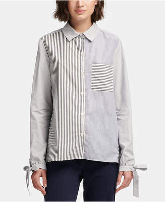 DKNY (ディー ケー エヌワイ) - Dkny Colorblock-Striped Button-Front Cotton Shirt