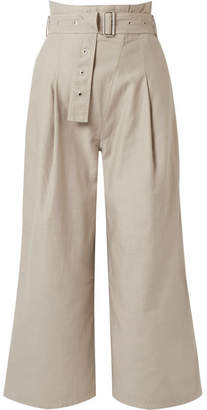 J Brand Via Cropped Belted Cotton-blend Canvas Pants - Mushroom