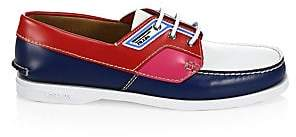 Prada Men's Spazzolato Leather Boat Shoes