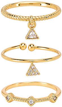 Ettika Geometric Ring Set of 3