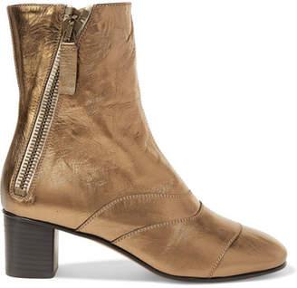 Chloé Lexie Metallic Leather Ankle Boots - Bronze