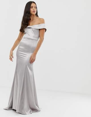Bardot Dolly & Delicious maxi dress with fishtail in silver satin