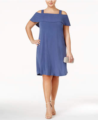 Monteau Trendy Plus Size Off-The-Shoulder Dress