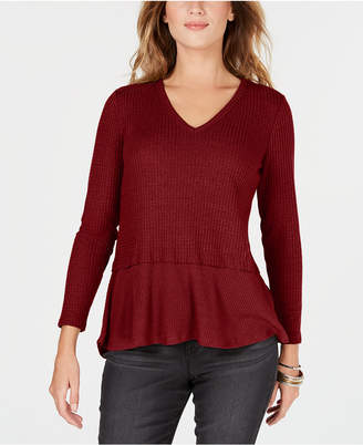 Style&Co. Style & Co Petite Mixed-Media Sweater, Created for Macy's