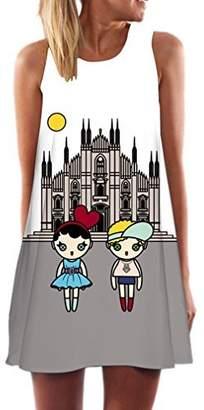 Love Moschino Honghu Women's Casual Retro Print Sleeveless Summer Party Dress Size X-L