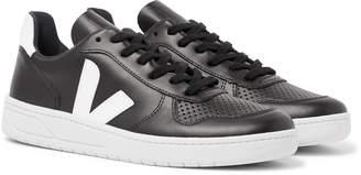 Veja V-10 Rubber-Trimmed Leather Sneakers - Men - Black