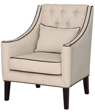 Crestview Collection Halstead Button Tufted Linen Lounge Chair w/ Contrast Welt
