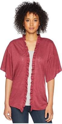 Bobeau B Collection by Marianne Ruffle Sleeve Cardigan Women's Sweater