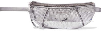 Miu Miu Sequined Metallic Quilted-leather Belt Bag - Silver
