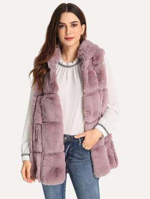 Shein Quilted Faux Fur Vest With Hood