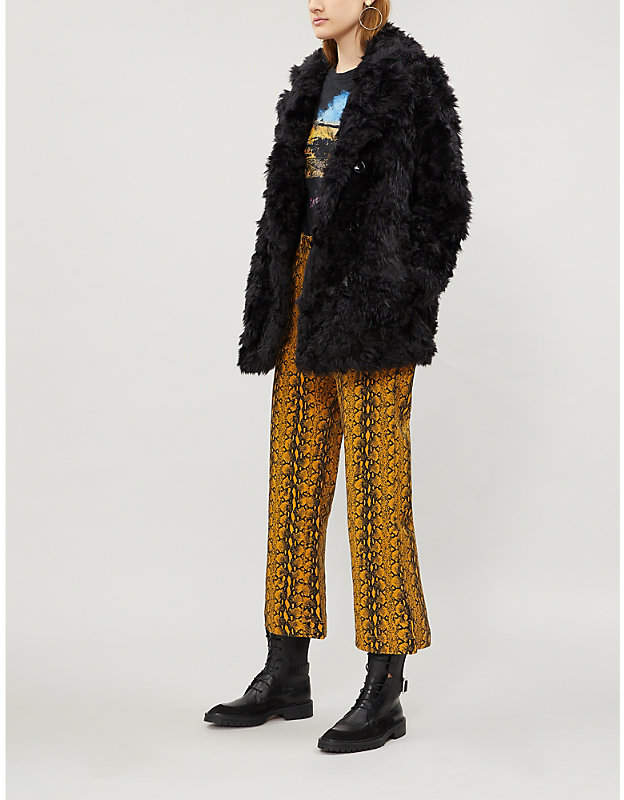 Double-breasted faux-fur coat