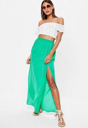 Missguided Green Split Maxi Skirt