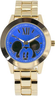 DISNEY Disney Mickey Mouse Womens Blue Dial Gold-Tone Bracelet Watch $40 thestylecure.com