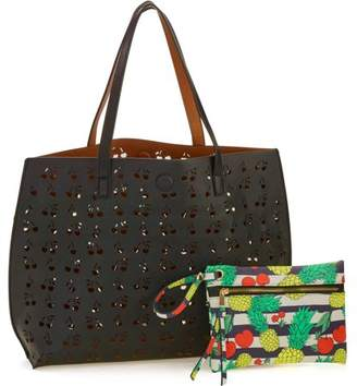 UnderOneSky 8 Fruit Laser Cut Reversible Tote with Print Pouch