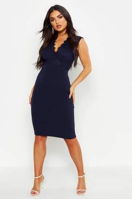 boohoo Lace Top V Neck Crepe Skirt Midi Dress
