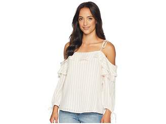 CeCe Striped Drop Shoulder Ruffled Blouse with Ties Women's Blouse
